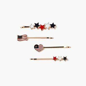 Forever 21 USA American Flag Patriotic Bobby Pin Set